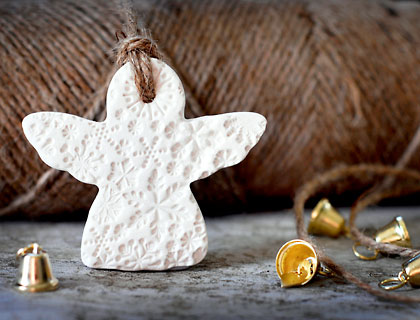 Ceramic Snowflake Angel Decoration by The Little White Box