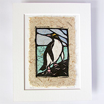 Original handcoloured woodcut by Liz Abbott