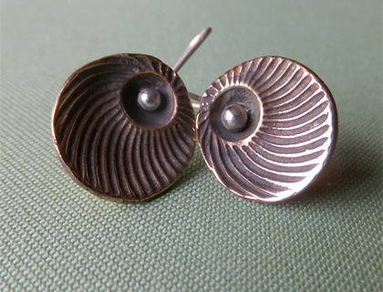 Bronze and sterling silver shell earrings by Maggie Churcher