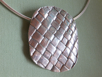Sterling Silver Flax Weave Pendant by Maggie Churcher
