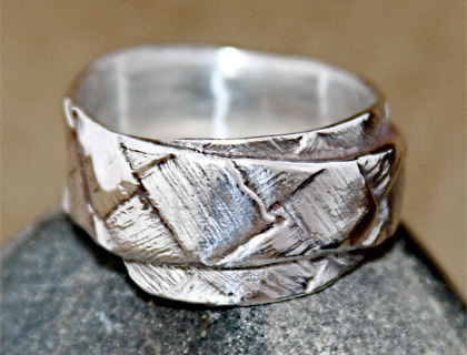 Flax Weave Single Wrap Ring by Maggie Churcher
