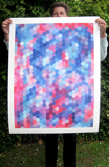 Hexagon Coloured #1 Limited Edition Print by Mark Catley