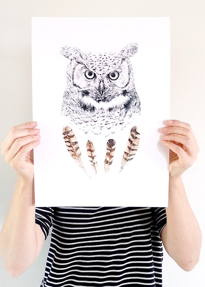 Wise Owl print A3 - Contemporary art print of pencil and watercolor drawing by Millie Strong
