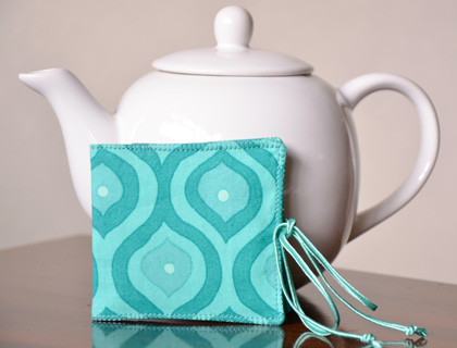 Tea Bag Wallet – Turquoise – by Miss Dotty