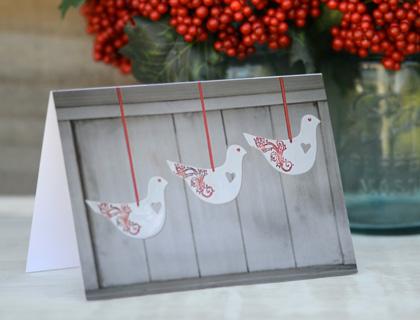 Mudbird Christmas Card – Red Dove Trio