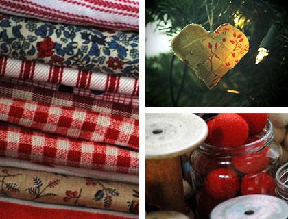 Image montage showing fabrics, haberdashery and one of Mel's decorations.