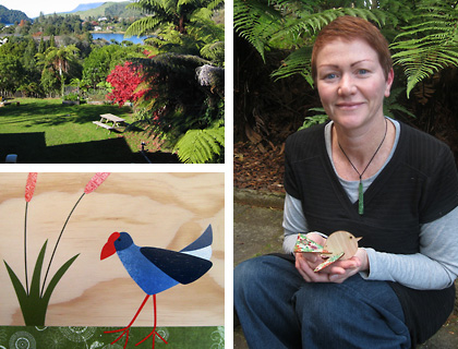 Aly, the view from her studio and her Pukeko collage