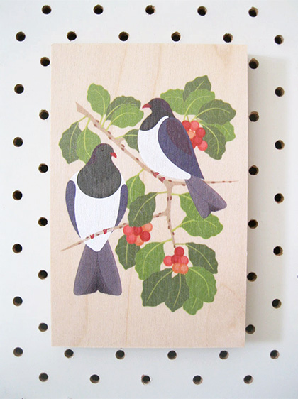 Kereru on Puriri​ : Plywood Art Block by Native Creative