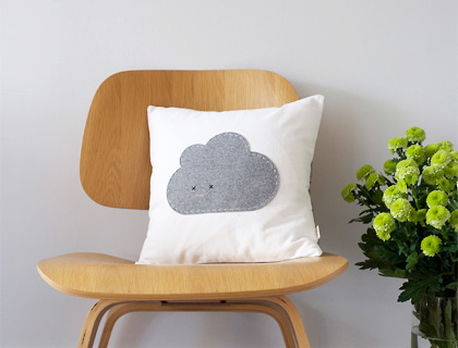 Grey Cloud Cushion by Needle and I