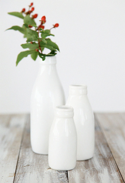 Milk Bottle Vases – Gloss White by Peter and Kirsty