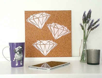 Diamond design hand painted cork board by Pinned