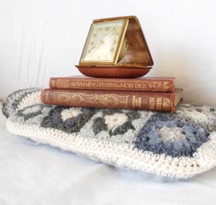 Wintery Cream and Grey Granny Square Hottie Cover