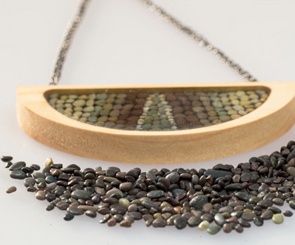 Beach Pebble and Wood Mini-Mosaic Pendant by Pretty Good