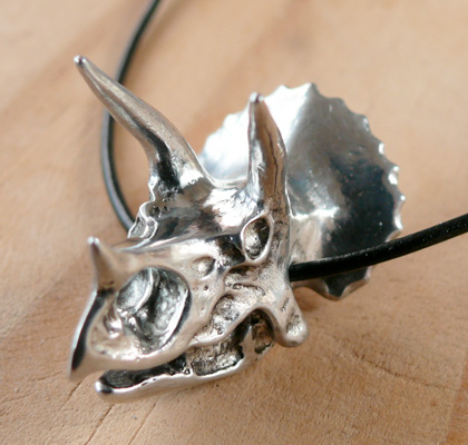 Pewter Triceratops Skull Pendant by C E M Adams