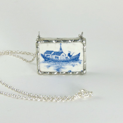 Blue Willow boat pendant by Remnants Jewellery