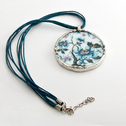 Blue Flower pendant by Remnants Jewellery