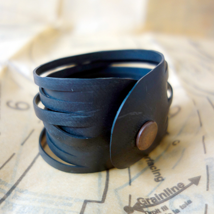 "Black bracelet ""ribbons"" cuff by re:purpose"
