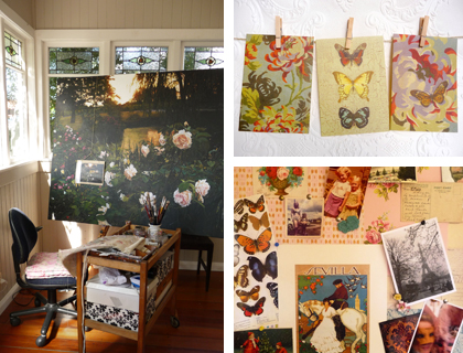 Rochelle's workspace and inspiration board