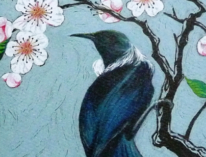 'Vintage Bird' Tui card by Rochelle Andrews