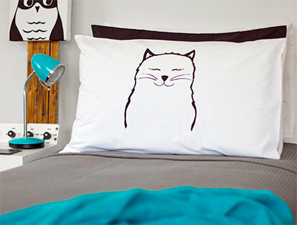 Hand Printed 300 Thread Count Pillowcase - Pussycat by Sandra Waine
