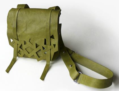 Avocado green leather satchel by Shelley D