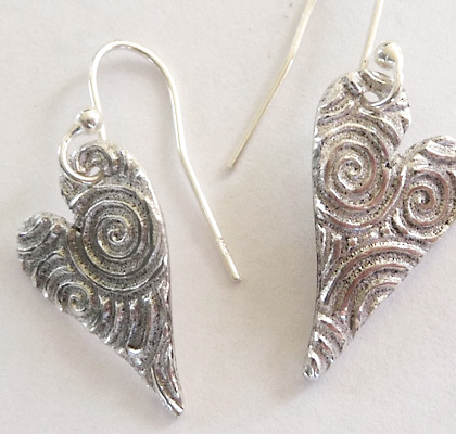 Silver Heart Earrings by Silverworks