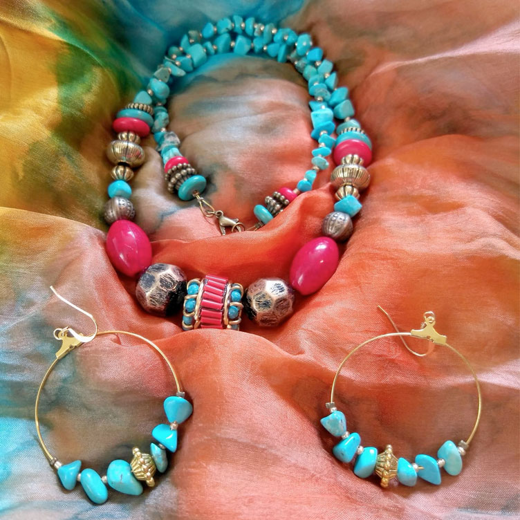 Turquoise Boho Necklace and Earring Set by Steampunker