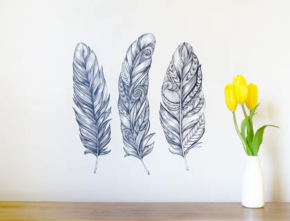 Feather wall decals by Sticky Tiki