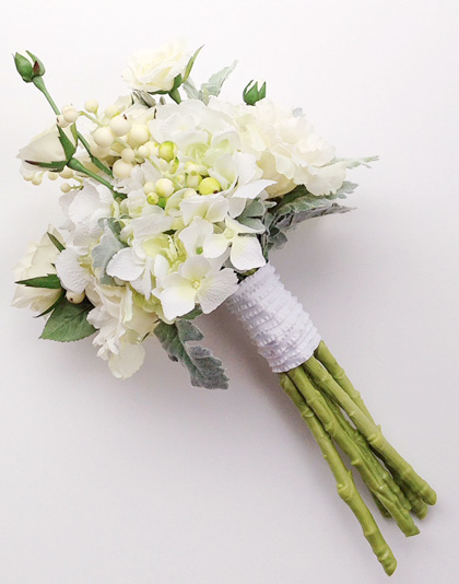 Garden-style white roses and hydrangea silk flower bouquet by Studio 100