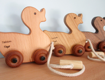 Traditional Wooden Pull-Along Duck by Tekton Toys