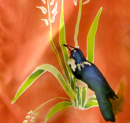 KIWIANA TUI HANDPAINTED SILK SCARF by kiwisilks