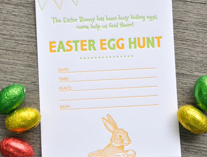 Letterpress Easter Egg Hunt Invitations by Tumbleweed Letterpress