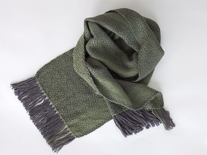 Alpaca Scarf in Charcoal Gray Light Green by Wrapt Weaving