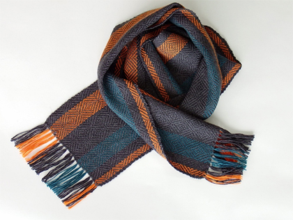 Alpaca Scarf in Charcoal Orange Teal by Wrapt Weaving