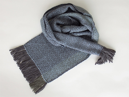 Alpaca Scarf in Charcoal Gray Powder Blue by Wrapt Weaving