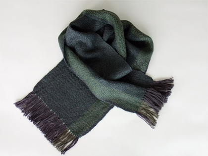 Alpaca Scarf in Charcoal Gray Emerald Green by Wrapt Weaving