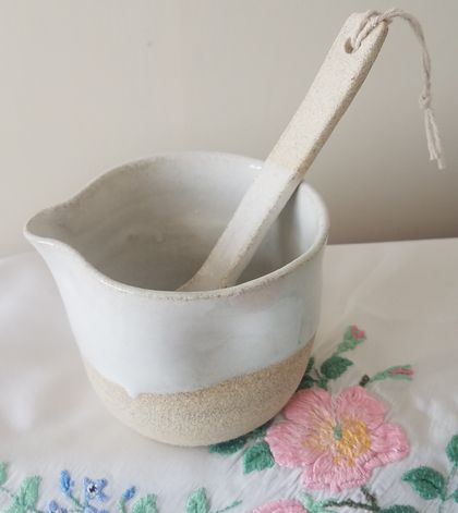 Half White Jug with Matching Spoon