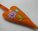 Scented Felt Heart Hanger - Orange