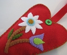Scented Felt Heart Hanger - Red/White