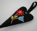 Scented Felt Heart Hanger - Black