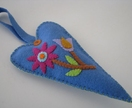 Scented Felt Heart Hanger - Blue