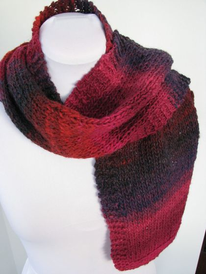 Handknitted Scarf - Red Noro