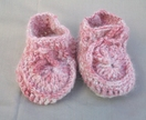 Merino and angora pink baby slippers