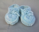 Merino and angora blue baby slippers