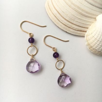 Lavender amethyst dangle earrings