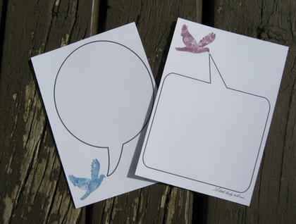 """""""A little birdy told me"""" notecards"""