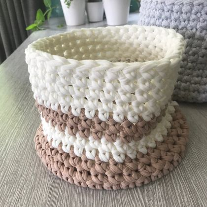 Tan and white Crocheted Baskets made from upcycled T-Shirt yarn
