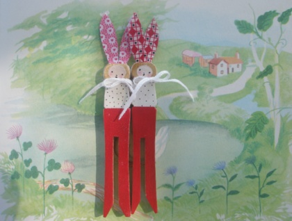 Twin Bunnies.... Peg Dolls