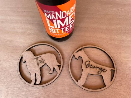 Custom Laser Cut Dog Coasters (Set of 4)