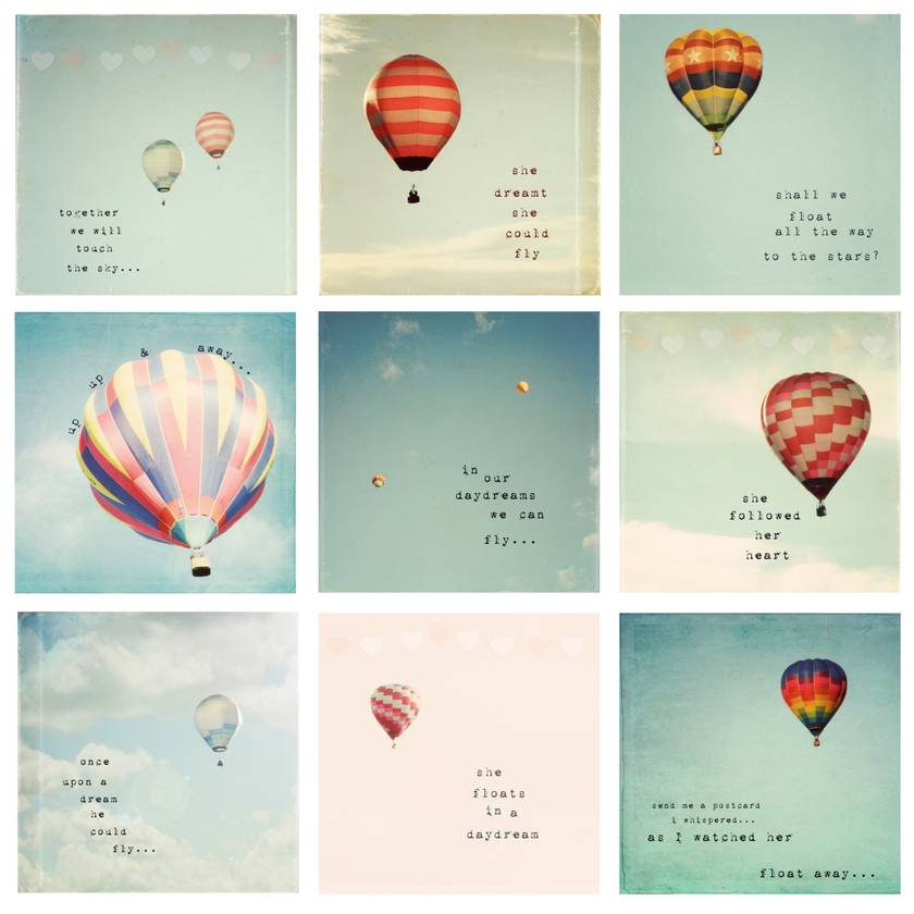 "Set of 9 4x4"" Whimsical Hot Air Balloon photos"